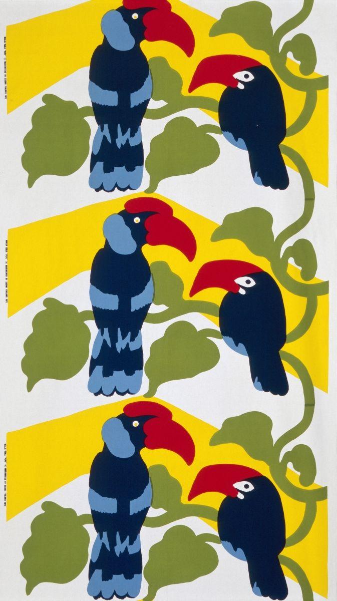 Pepe-painokankaan (1970) aiheena on tukaanipari istumassa liaaneillaan. Kuva: Rauno Träskelin.