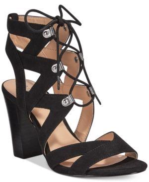 Xoxo Barnie Lace-Up Sandals - Black 8.5M
