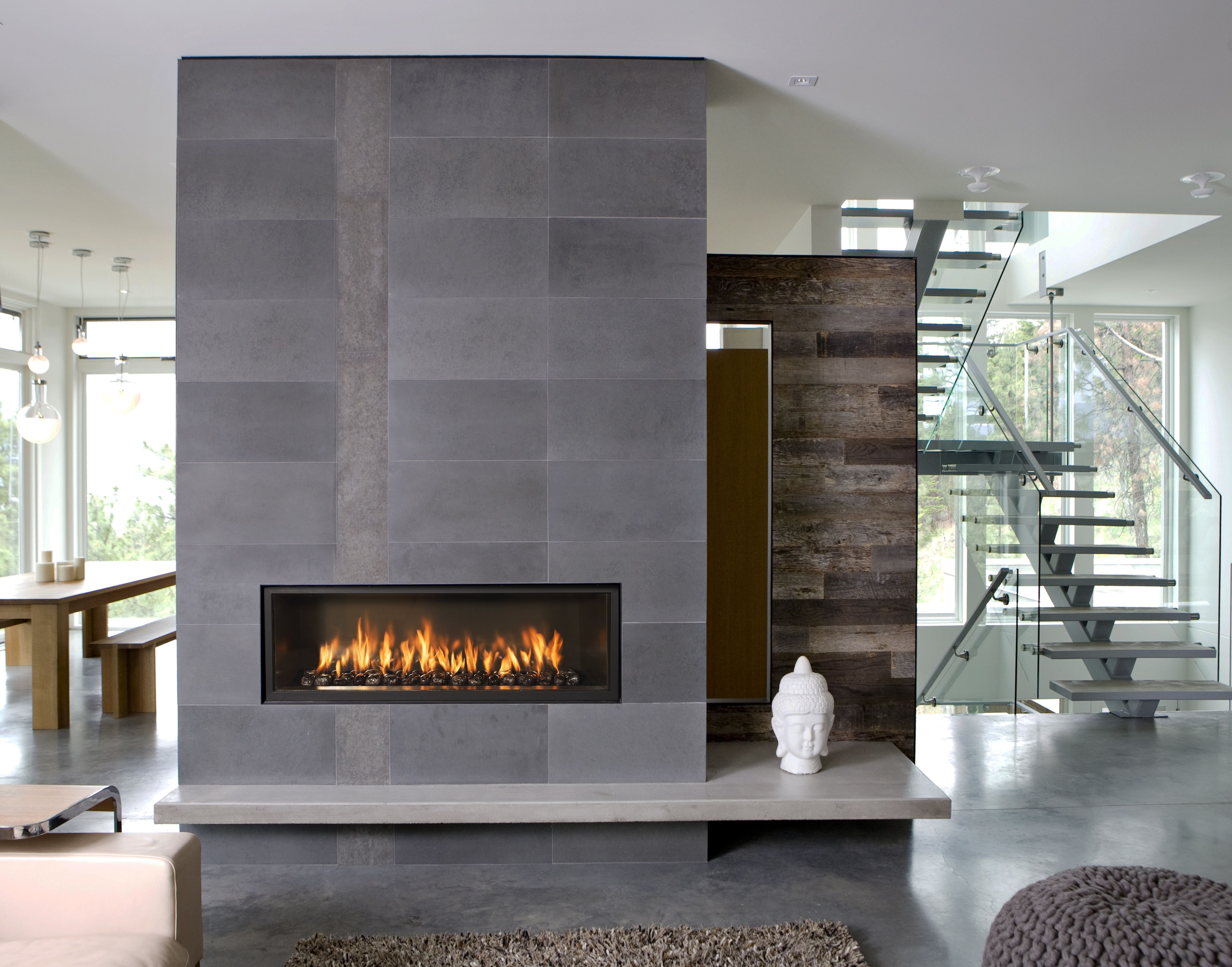 Interior design industrial home slate gray reclaimed wood for Interior fireplace designs