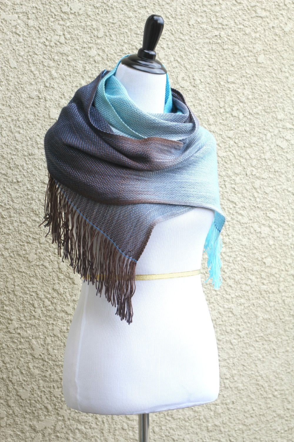 Hand woven long scarf with gradually changing colors from soft blue to chocolate brown. On the last photo you can see that this scarf might have different look and colors d... #kgthreads #pastel