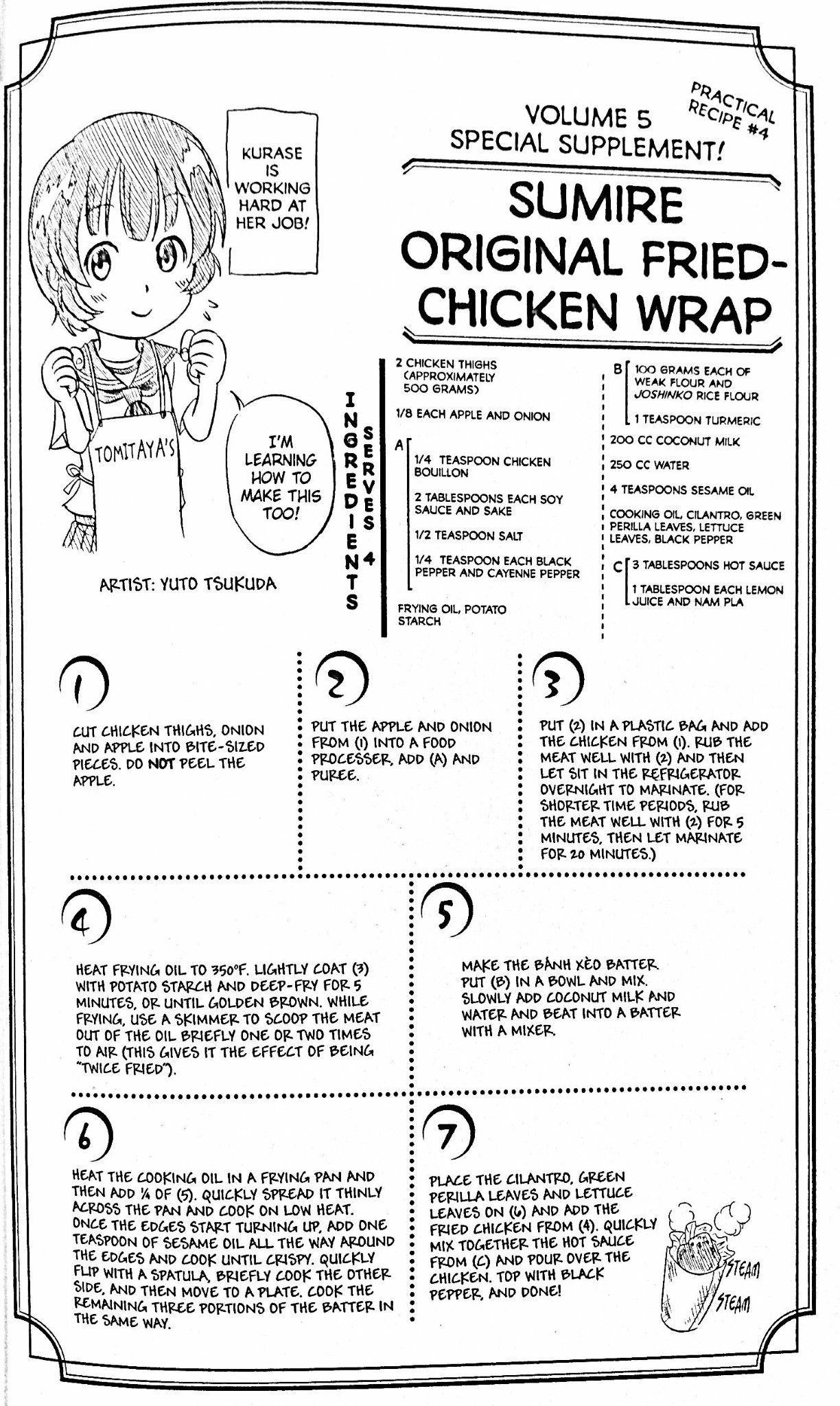 Fried chicken wrap from Kurase  Food wars, War recipe, Geek food