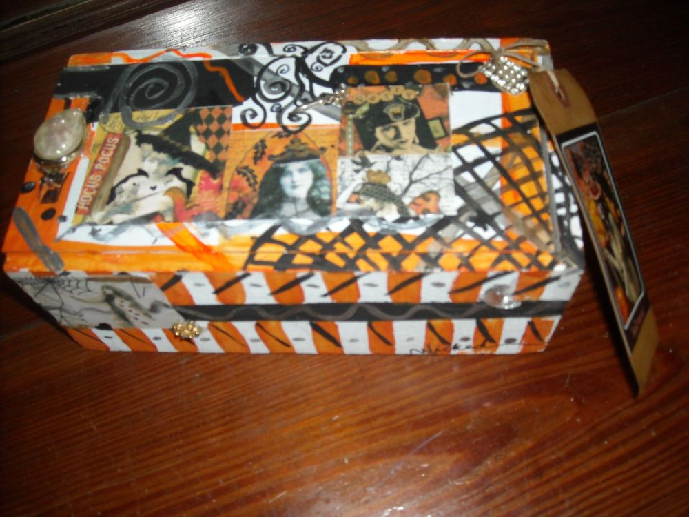 Halloween Box Decorations Folk Art Halloween Box Decoration Witch Wicca Primitive Chic N