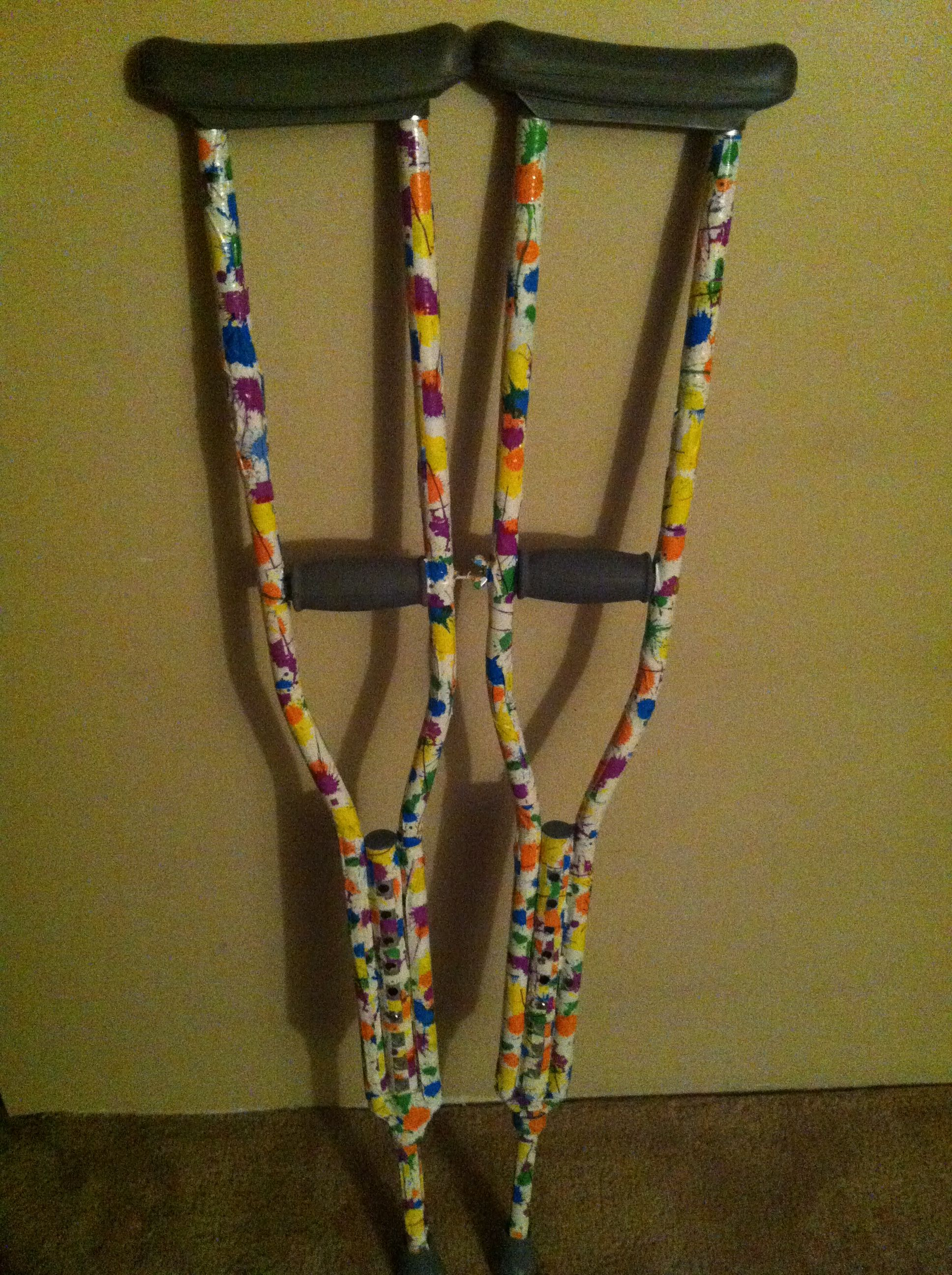 customized crutches 2 rolls of fun duct tape from menards and a