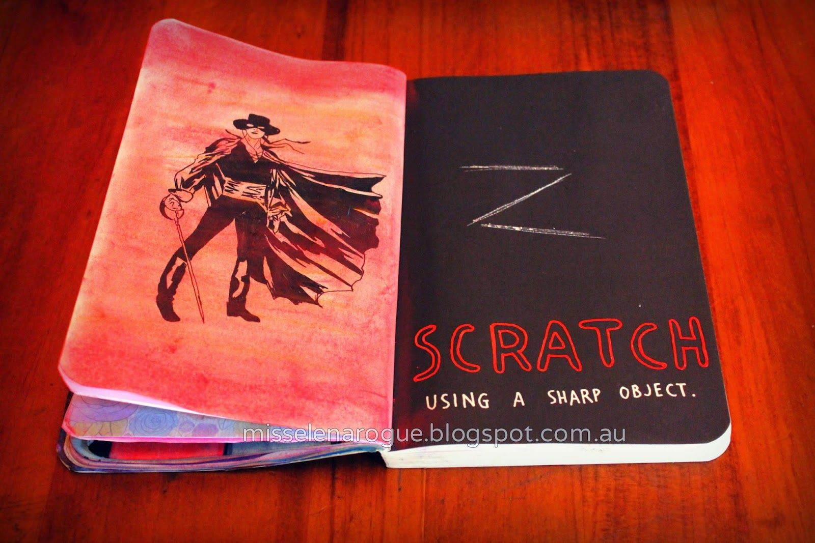 Scratch using a sharp object, wreck this journal ideas #zorro