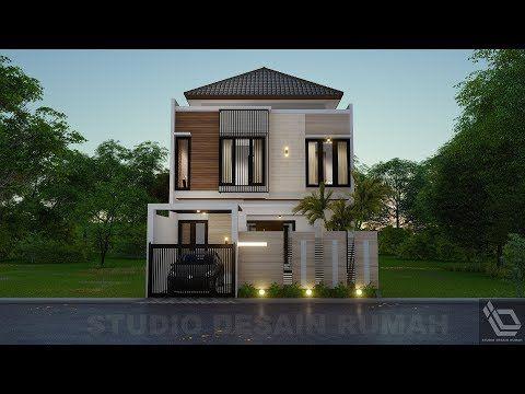 desain rumah dua lantai 8m x 15m 4 kamar tidur - youtube