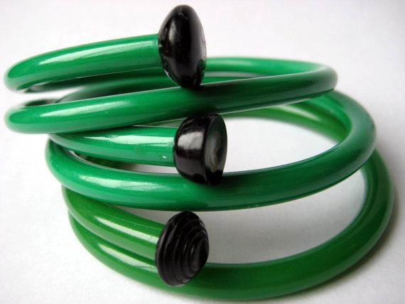 Upcycled Knitting Needle Bracelets Green as Grass by sewnewthings, $32.00
