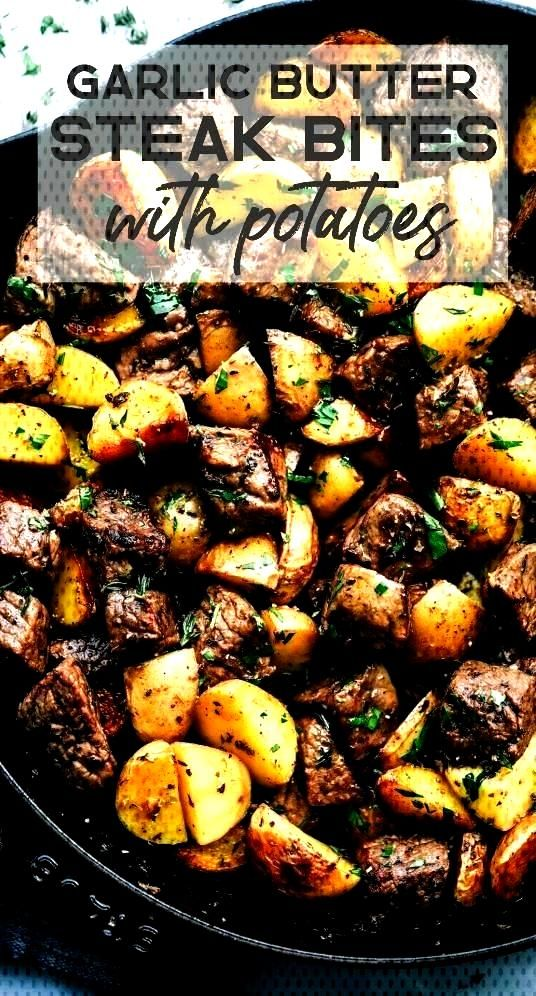 HERB STEAK BITES WITH POTATOES with are such a simple meal that is full of tender garlic herb melt