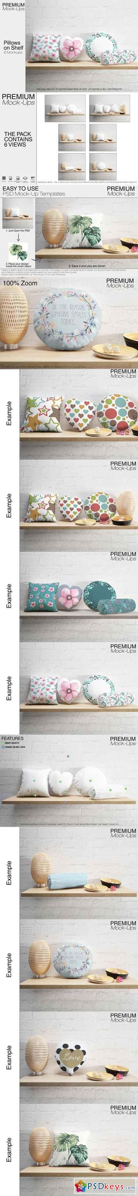 Pillows on Shelf Set 2543435 | psd keys | Shelves, Mockup