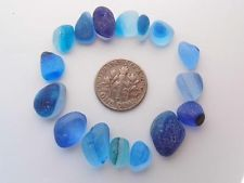 16 Multi XS-S/M brights of Blue Turquoise Aqua JQ RARE Genuine English Sea Glass