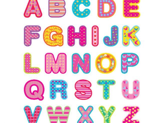 It is a photo of Nerdy Abc Cut Out Letters