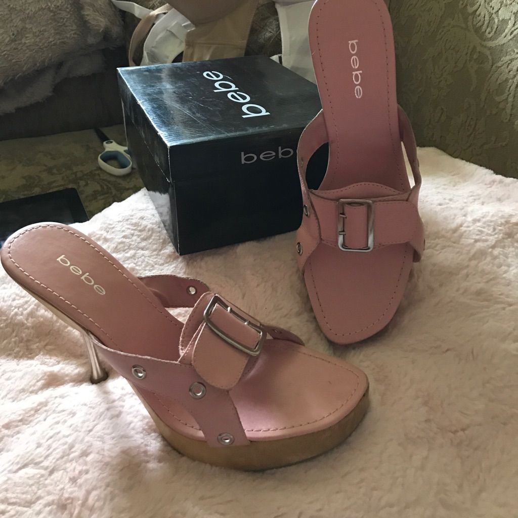 Bebe Pink Leather Stilettos With Wood Bottom