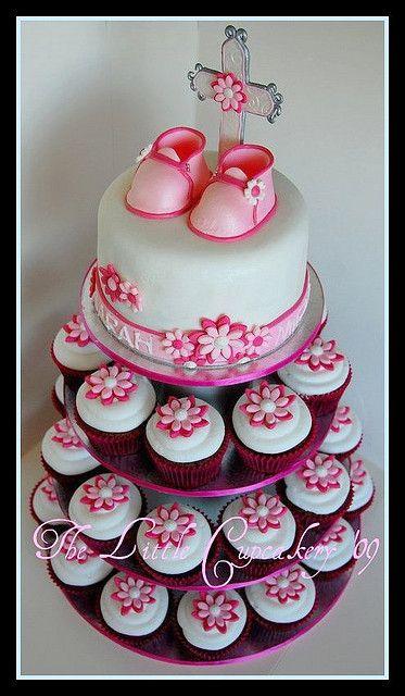 Christening Cupcake tower | Cake, cup cake | Christening ...