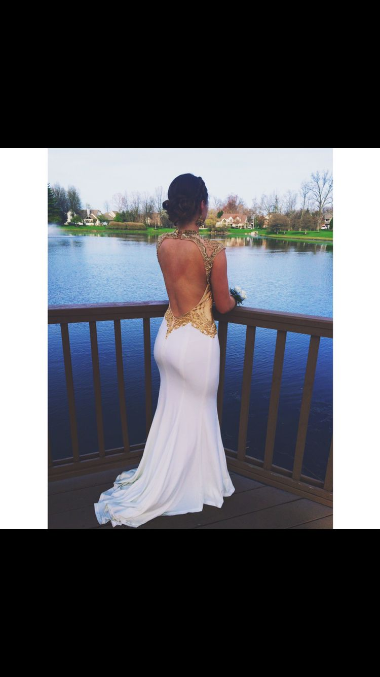 03b6fa0a6417 Long, gold and white prom dress, tight, backless | Prom dresses ...