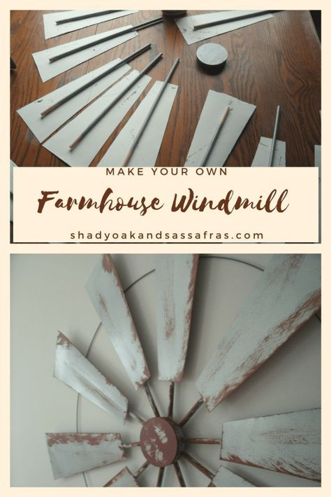 Make your own Farmhouse Windmill decor #dollartreecrafts
