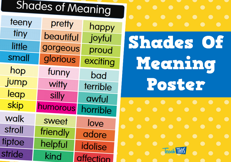 Shades Of Meaning Poster | school | Pinterest | Homeschool, Word ...