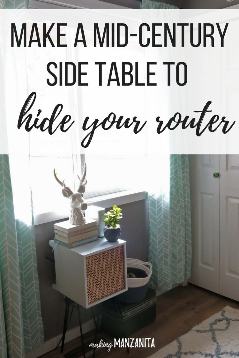 How To Hide Router Cords With A Mid-Century Side Table | Pinterest ...