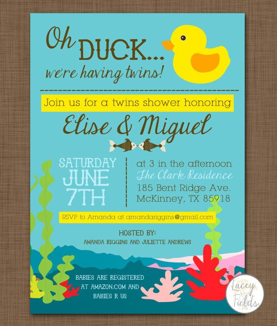 baby shower invitation oh duck we 39 re having twins funny baby shower