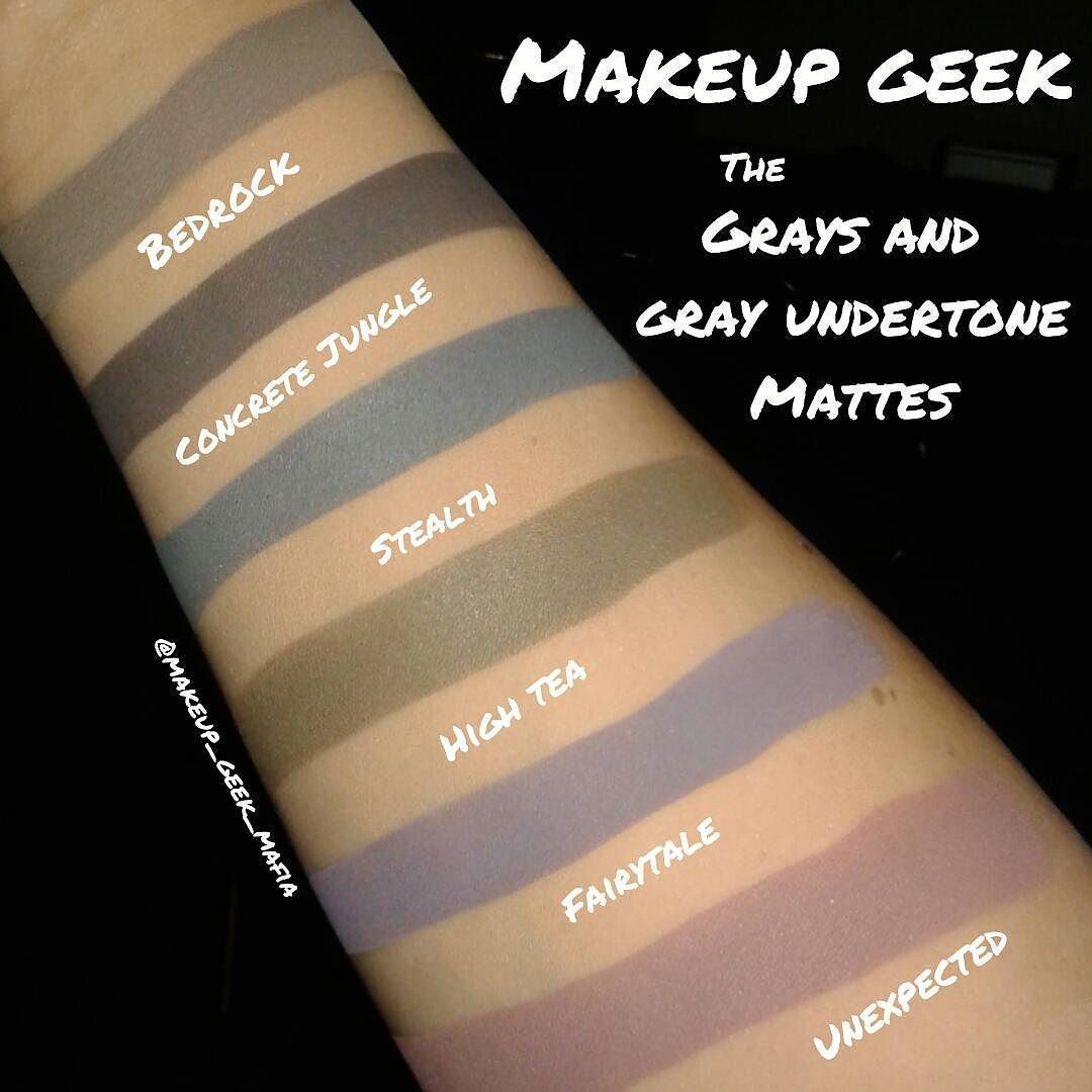 As promised  i have the gray and the stronger gray undertoned matte shadows in tonight's edition of #mgmswatches.  Direct link to the @makeupgeekcosmetics store in my bio  NOTES: - Stealth swatch is the 2015 reformulated version - Fairytale and Unexpected are purples with gray undertones - High Tea is a mix of green  brown and gray.  Definitely an interesting color.  #makeupgeek #makeupgeekcosmetics #jaclynhill #batalash #maquiagemx #maquillaje #hudabeauty #affordable #crueltyfree…