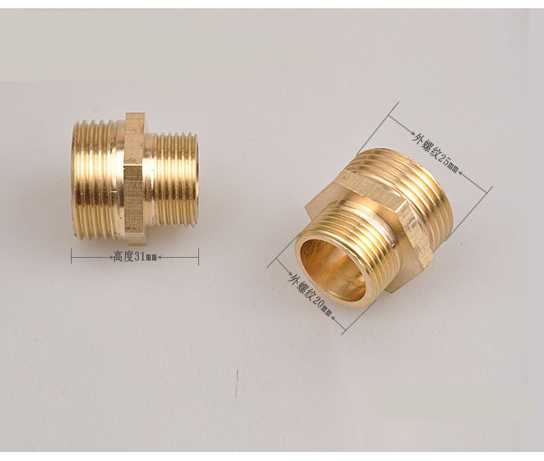 """Brass Male Thread  Hex Nipple Adaptor 1/"""" x 1/"""" BSP"""