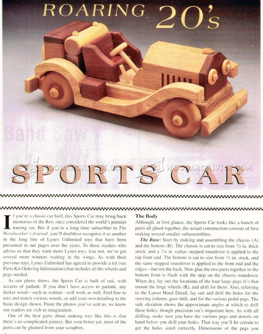 wooden sports car plans - wooden toy plans | vintage car