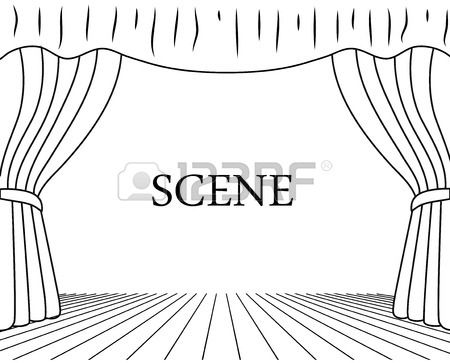 Theatrical Scene Drawing On A White Background Scene Drawing Theatre Drawing Drawings