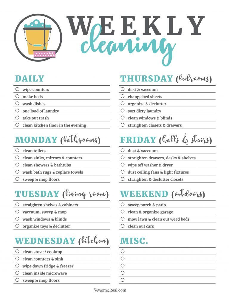 Printable Cleaning Checklists for Daily, Weekly and Monthly Cleaning