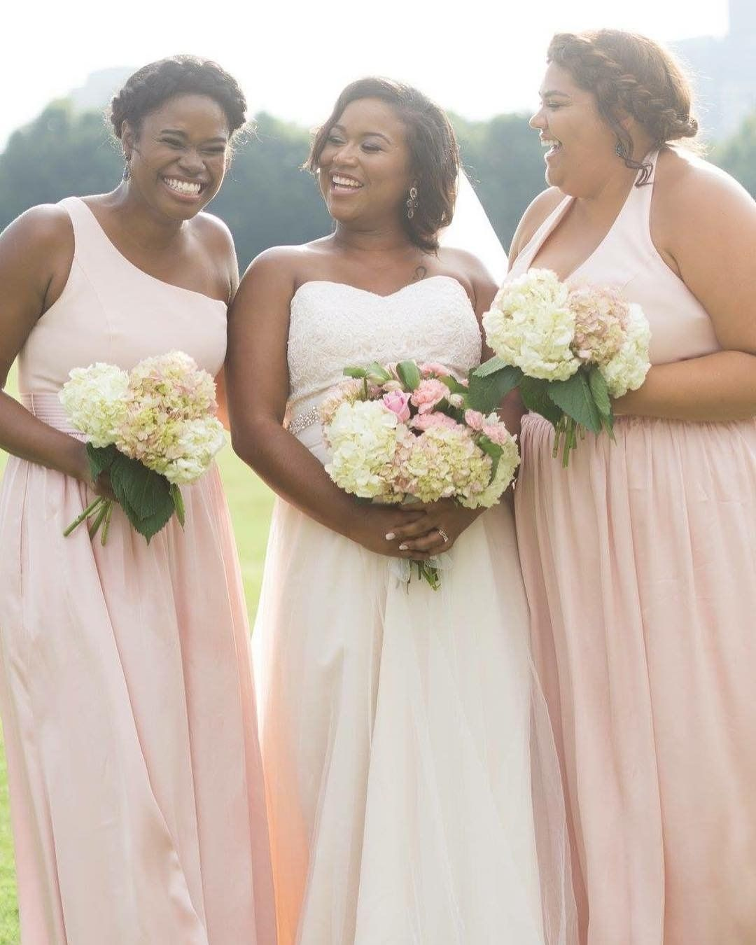 Shivaun elizabeths bridesmaids in blush one shoulder and v neck shivaun elizabeths bridesmaids in blush one shoulder and v neck long bridesmaid dresses by white ombrellifo Images