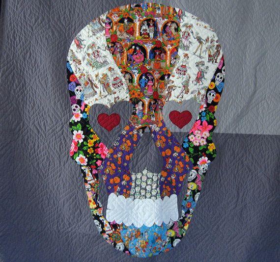 Reserved for libraryrose | Sugar skulls, Raw edge applique and ... : sugar skull quilt pattern - Adamdwight.com