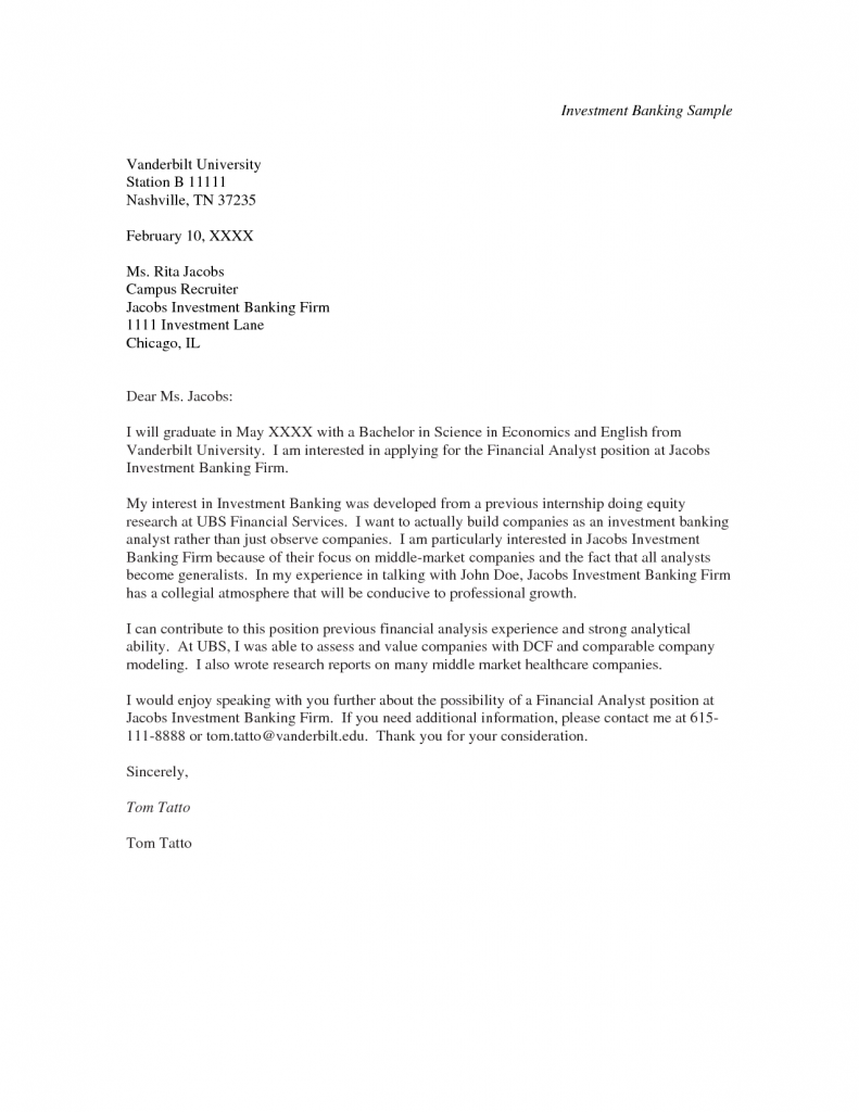 Cover Letter Investment Banking Cover Letter Sample A