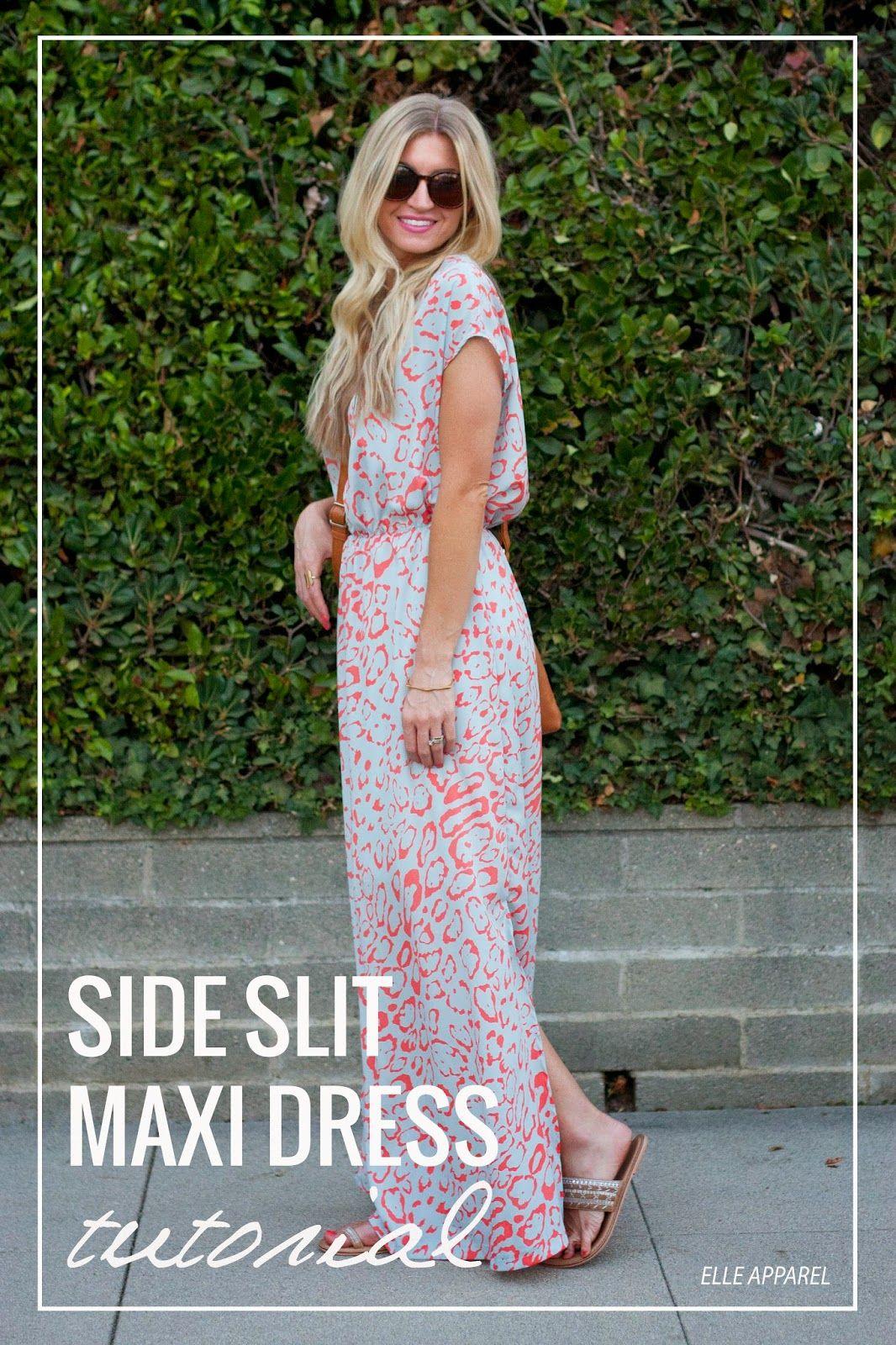 Elle apparel pattern play side slit maxi dress tutorial robes