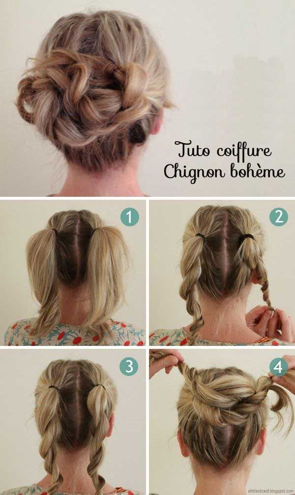 Tuto coiffure facile cheveux longs courts #coiffure