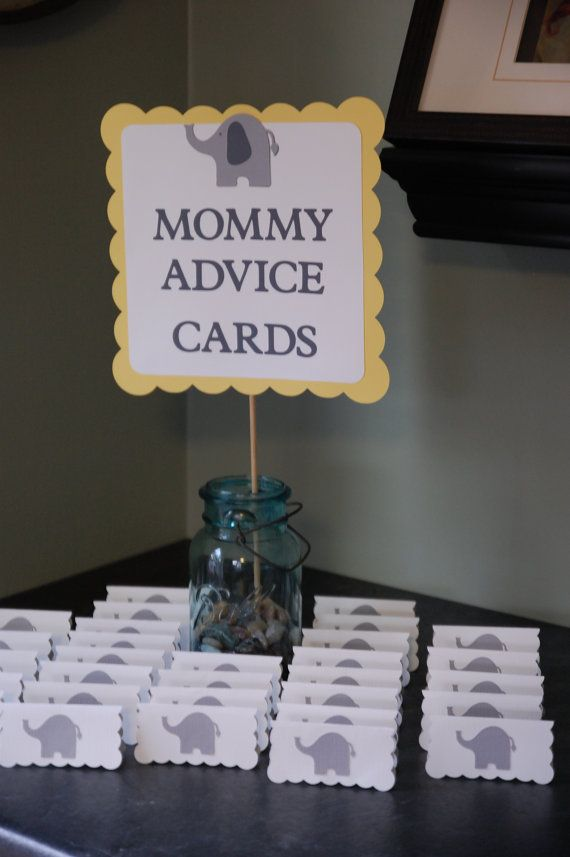 Elephant Baby Shower Mommy Advice Cards And Buffet Sign Baby
