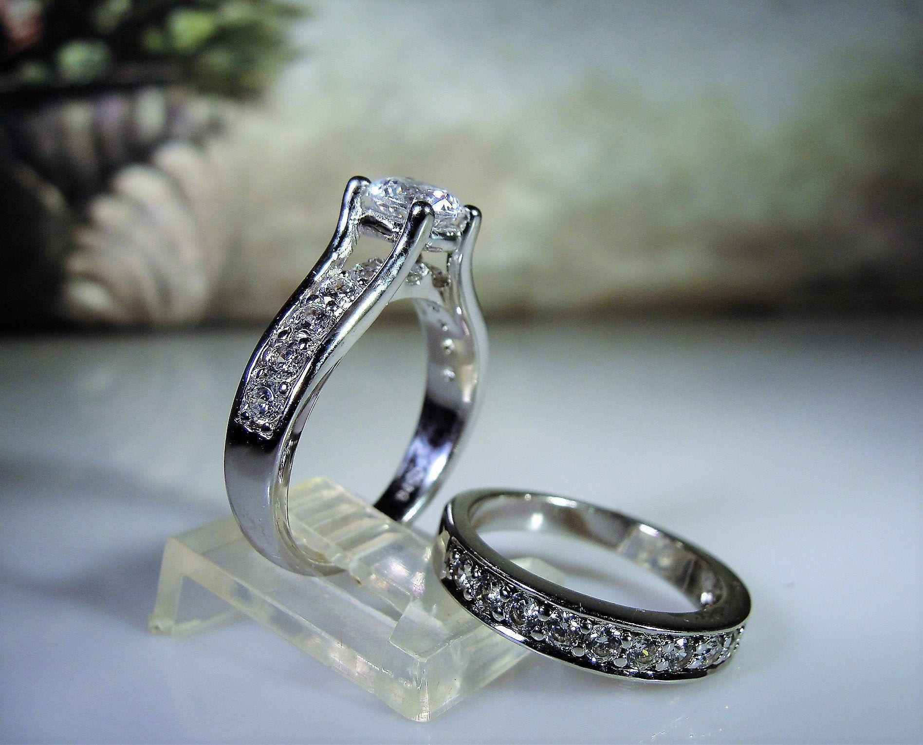 Sterling Silver Bridal Ring Set Cz Ring Set Engagement Ring Wedding Band Travel Rings Weddin In 2020 Wedding Ring Bands Wedding Ring Sets Unique Wedding Ring Sets