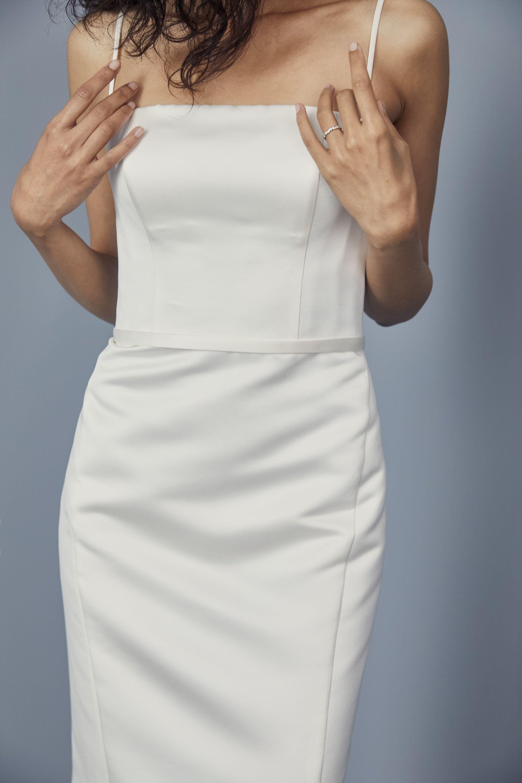 Lw163 Duchess Satin Sheath Dress Short Satin Dress Little White Dresses Ankle Length Wedding Dress [ 3000 x 2000 Pixel ]