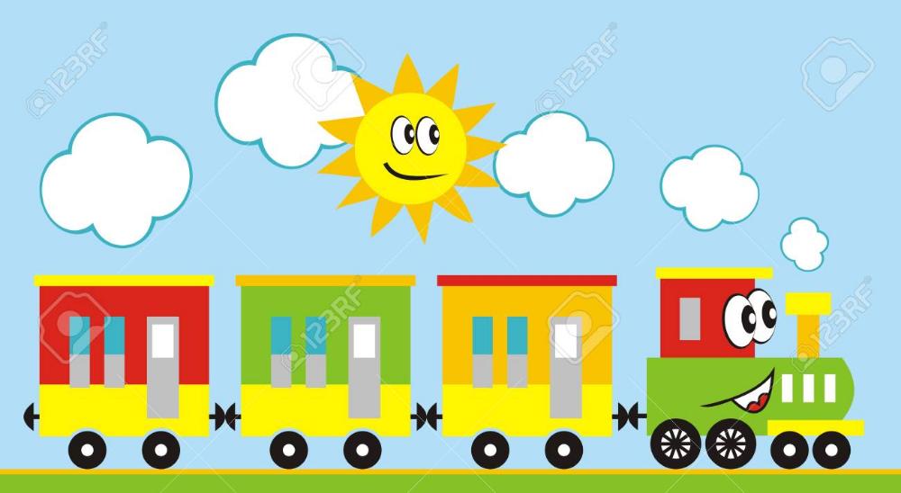 Conjunto De Trenes Locomotora De Tres Vagones Ilustración Vectorial Divertido Tren Y Sol Locomotora Con Ojos Y Boca Tren Locomotora Divertido