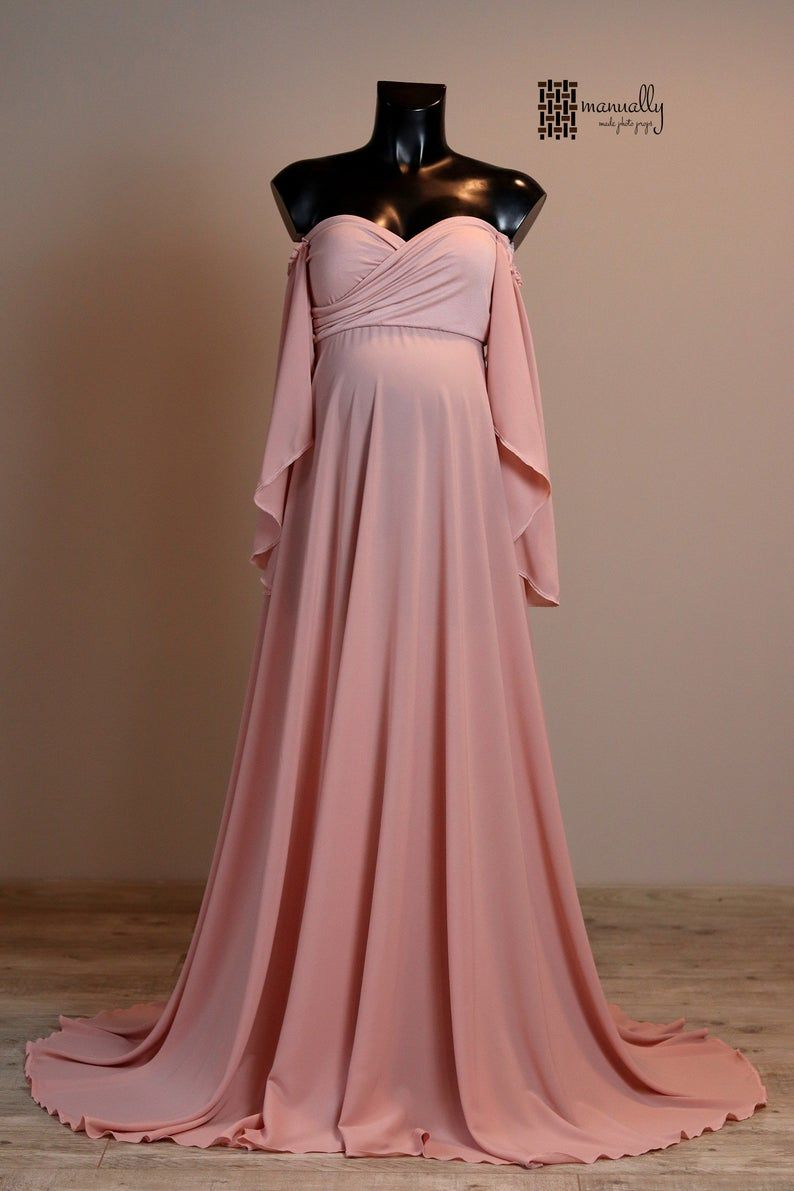 Photo of Martha Maternity Dress For Photo Shoot, Full Lenght Jersey Maternity Gown, Pregnant Dress, Pink Dress, Photoprops, Photorgraphy Props
