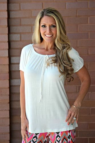 Solid Short Sleeve Baby Doll Top- Off White, $22.00