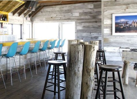trying to get that beachy vibe in our den, forget about teal on the walls, what a great idea with teal on the chairs instead.  #mantauksurflodge
