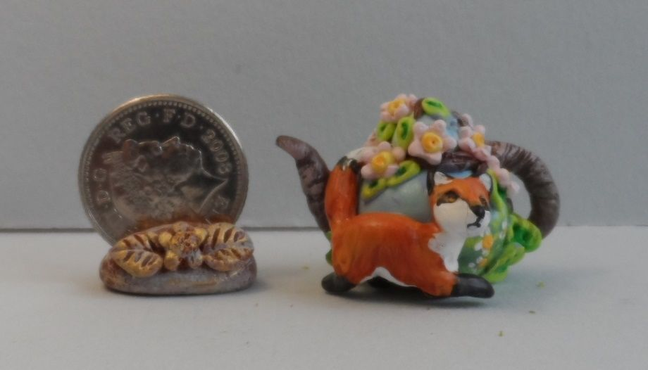 OOAK fox and spring blossom teapot miniature Cottage Kitty
