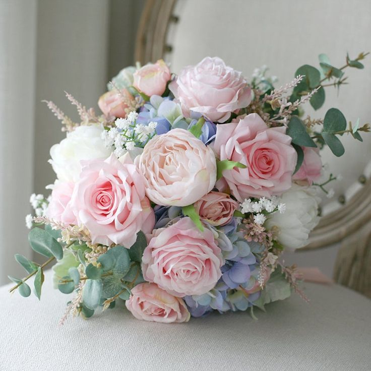 Bridal Bouquet,Blush Pink and Pale Blue Classic Wedding Bouquet, Rustic Boho Flower Bouquet, Design