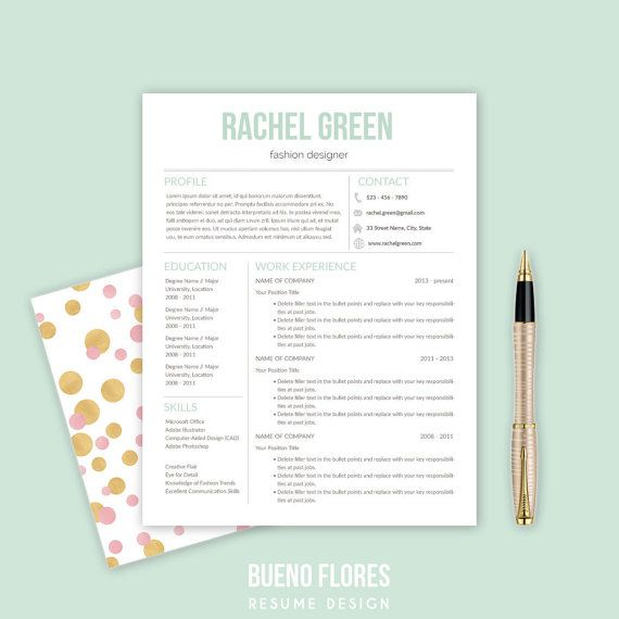 Resume Template Quot Rachel Green Quot Cover Letter 20 Icons Pc Mac Instant Download Creative Ele Resume Template Free Cover Letter Rachel Green