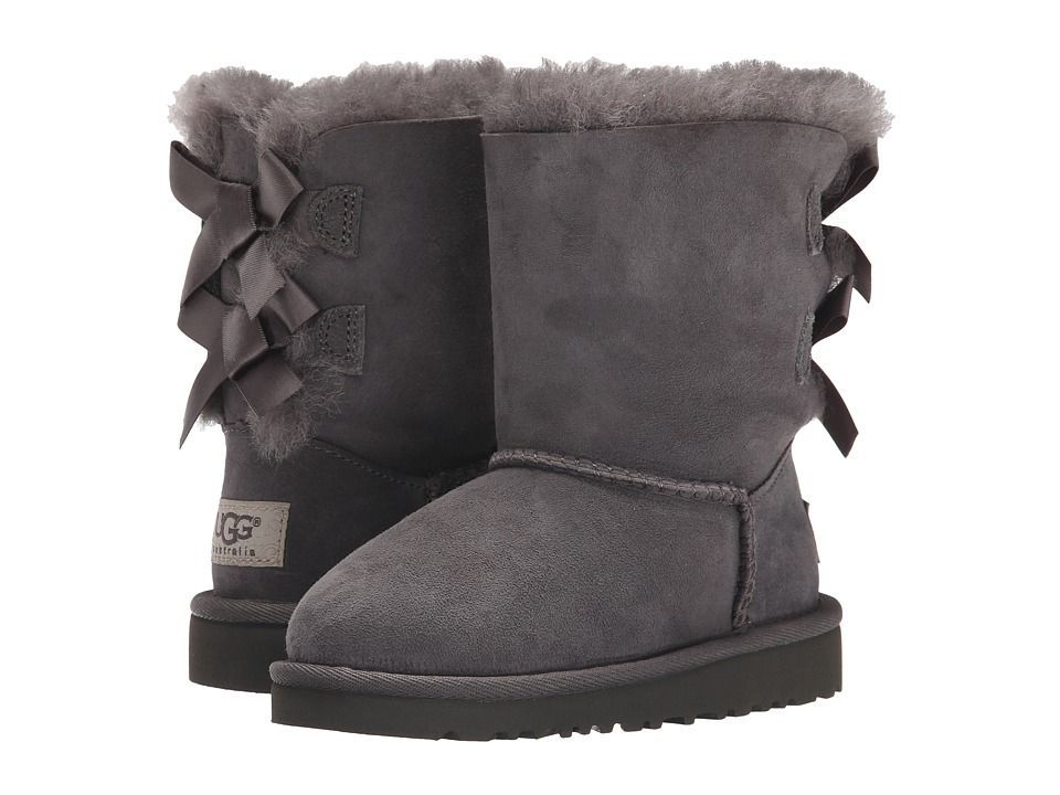 884c76aa940 UGG Kids Bailey Bow (Toddler/Little Kid) Girls Shoes Grey | Girls ...