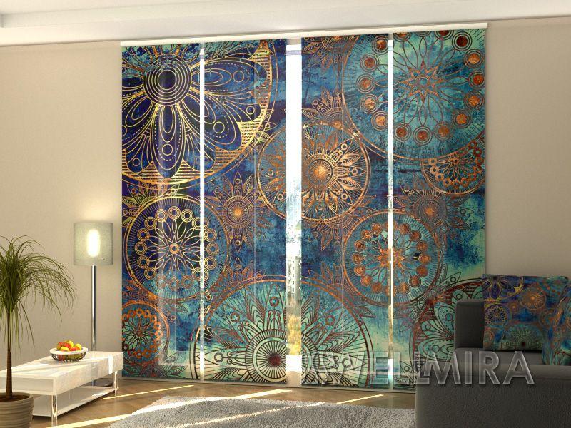 Set of 4 Panel Curtains Golden Ornament #Wellmira #ModernCurtains - moderne tapeten fürs wohnzimmer