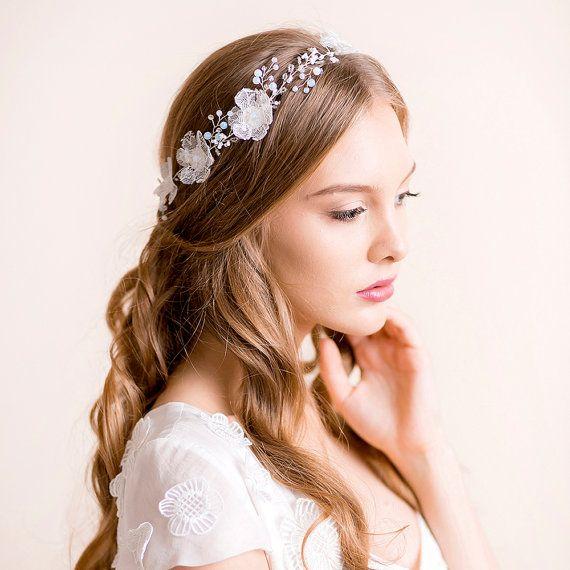 Wedding Headband with Opal Crystals - Bridal Headband - Opal Headpiece -  Bridal Hair Vine Floral - S 425d5c8330b