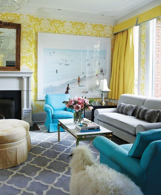 Blue Color Living Room Designs Awesome Playful Living Room Design With Yellow Decoration And Blue