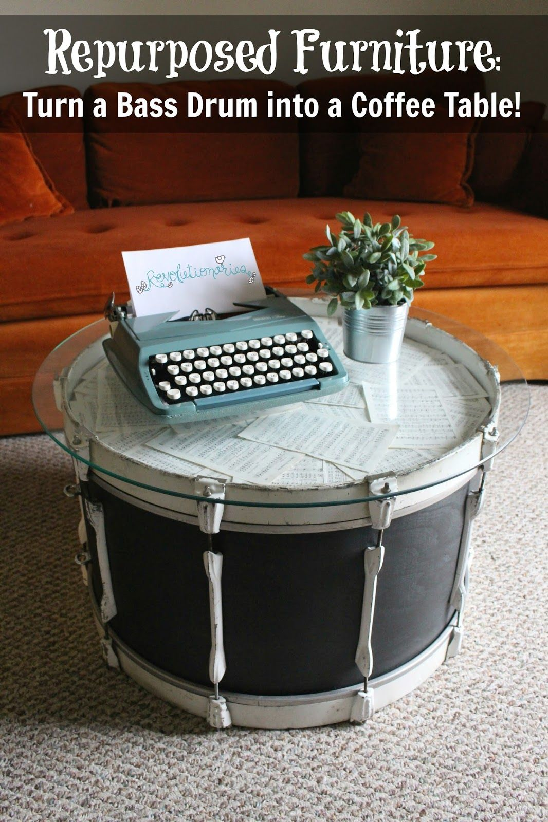 repurposed furniture: turn a bass drum into a coffee table