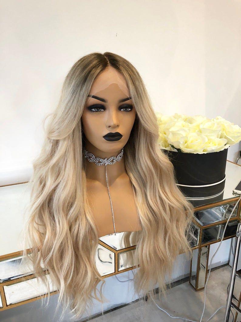 Platinum Blonde glueless Full Lace wig with medium ash blonde root, 200 density