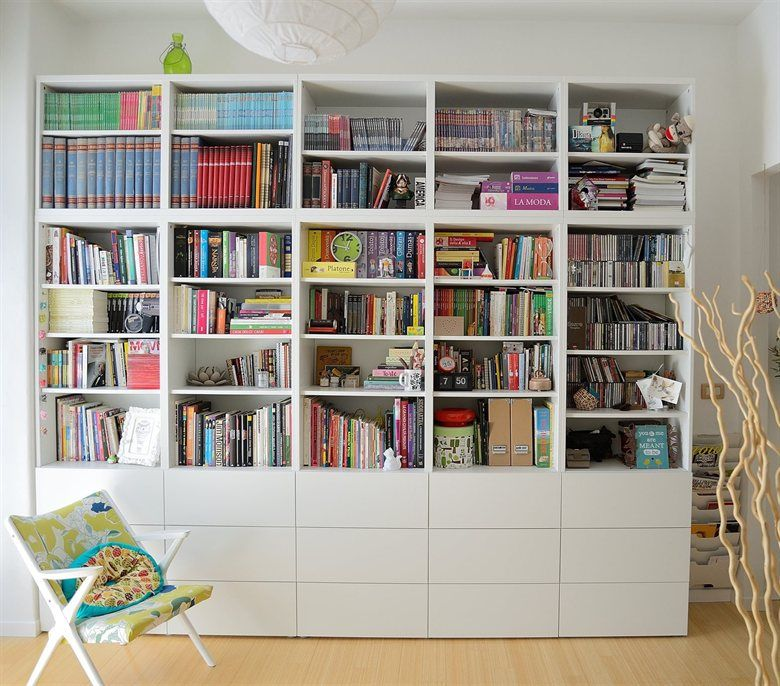Colourful Books In A Simple White BESTÅ Bookcase