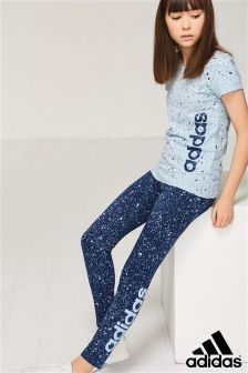 1dc84f04d adidas Blue Speckle Legging | Active Wear for the Tween | Blue ...