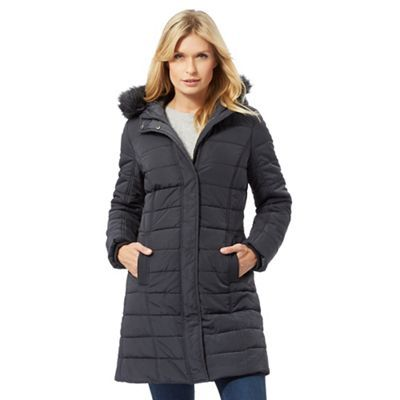 8088d8807bb1f Maine New England Dark grey faux fur hood trim padded coat ...